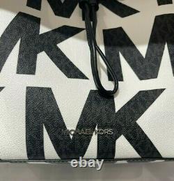 Michael Kors Suri Large Graphic Logo Bucket Convertible Backpack MK White Black