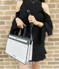 Michael Kors Tatianna Leather Large Satchel Handbag White MK Black