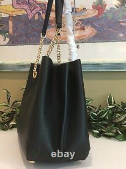 Michael Kors Teagen Large Long Drop Satchel Shoulder Bag Black Leather Gold $448