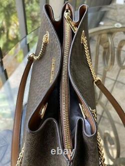 Michael Kors Teagen Large Satchel Shoulder Bag Mk Brown Signature Purse