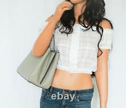 Michael Kors Teagen Long Drop Leather Chain Satchel Shoulder Bag Pearl Grey