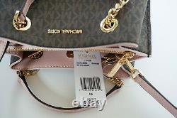 Michael Kors Teagen Small Pvc Leather Messenger Bag Mk Brown/pink Blssom