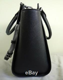 Michael Kors Tina Black Silver Leather Large Top Zip Satchel Handbag