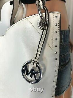 Michael Kors Vintage Astor Large Leather Chain Tote Handbag Bag Purse White