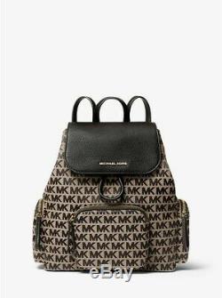 Michael Kors Women Abbey Large Flap Cargo Pocket MK Jacquard PVC Backpack Purse