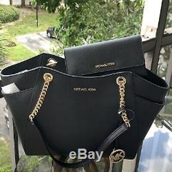 Michael Kors Women Black Leather Shoulder Tote Handbag Purse Bag +Trifold Wallet