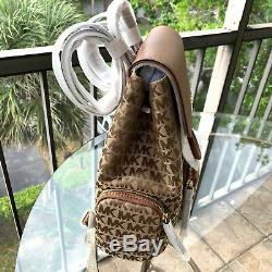Michael Kors Women Lady Girls Large Jacquard Leather Backpack Travel Shoulder MK