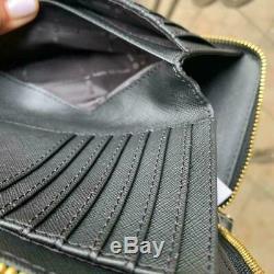 Michael Kors Women Large Leather Shoulder Tote Handbag Purse Black Bag + Wallet