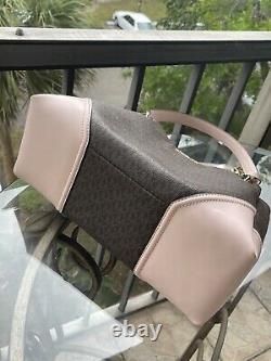 Michael Kors Women Large Pvc Leather Shoulder Tote Bag Handbag Brown Bag+wallet