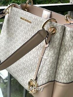 Michael Kors Women Large Pvc Leather Shoulder Tote Bag Purse Handbag Vanilla