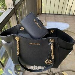 Michael Kors Women Leather Black Shoulder Tote Bag Handbag Purse + Bifold Wallet