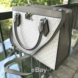 Michael Kors Women Pvc Leather Satchel Shoulder Bag Crossbody Bright White/grey