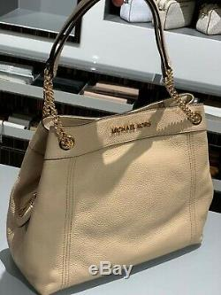 Michael Kors Women's Jet Set Large Leather Shoulder Tote Handbag Purse Beige
