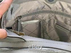 Michael Kors Womens Large Shoulder Tote Bag Handbag Leather Grey Silver Purse MK