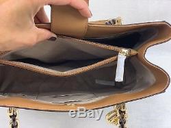 Michael Kors Womens Medium Large Shoulder Leather Tote Bag Handbag Vanilla Purse
