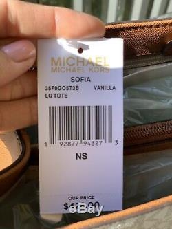 Michael Kors Womens Medium Large Shoulder Tote Vanilla Bag Handbag + id Wallet