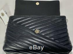 NEW AUTHENTIC Tory Burch Kira Chevron Quilted Convertible Black Shoulder Bag