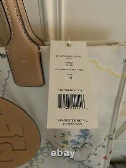 NEW TORY BURCH Ella Large Canvas Floral Tote #AFTERNOON TEA 70501 Authentic