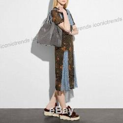 NWTCOACH 32988 EDIE 42 LARGE RIVET MIX LEATHER SUEDE SHOULDER BAG Heather Grey