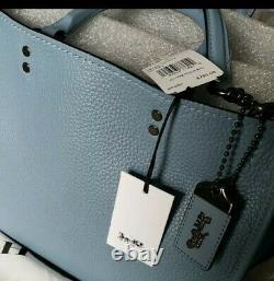 NWT 1941 Coach Rogue 30 Pebble Leather Slate Blue Satchel Shoulder Bag F38124