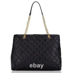 NWT $358 Michael Kors Susannah Large Leather Tote Black Gold Shoulder Bag Zip MK