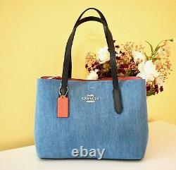 NWT $398 Coach Avenue Carryall Crossbody Shoulder Bag, Sv/Denim/Br. Coral, 91140