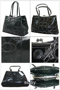 NWT $398 Coach Signature Stitch Patent Leather Carryall Black Shoulder Bag NEW