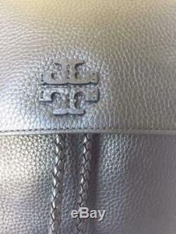 NWT $498 AUTH TORY BURCH Tylor Braided Tassel Pebbled Leather Backpack In Black