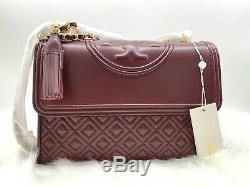 NWT $498 Tory Burch Fleming Quilted Convertible Leather Shoulder CrossBody Bag