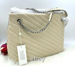 NWT $628 Tory Burch Kira Chevron Quilted Distressed Leather Tote Bag New Cream