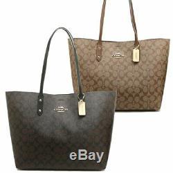 NWT Authentic Coach F76636 Signature Coated Canvas Town Tote Handbag