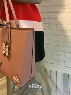 NWT Authentic KATE SPADE little len all the buzz Leather Tote with 3D Butterflies