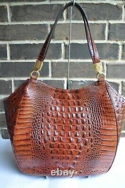 NWT BRAHMIN MARIANNA PECAN LEATHER SHOULDER BAG TOTE brown