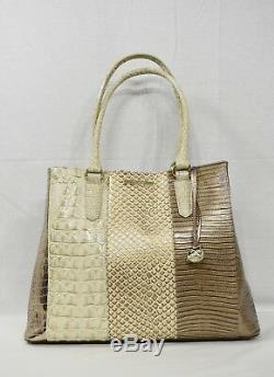 NWT Brahmin Joan Leather Tote / Shoulder Bag in Latte Buena Vista Tri-Texture