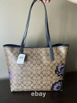 NWT COACH 5697 City Tote In Signature Canvas With Kaffe Fassett Print $378