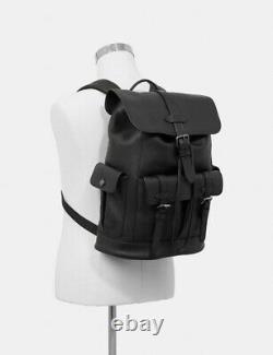 NWT COACH Black Hudson Men Pebble Leather Backpack F36811 MSRP $598