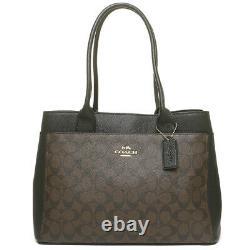 NWT COACH CASEY Tote Signature Canvas Logo Shoulder Bag Purse Brown Black F31475