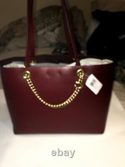 NWT COACH Deep Red Smooth Leather Signature Chain Central Tote Purse Bag 78218