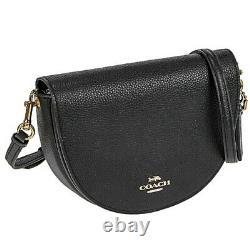 NWT COACH Ellen Crossbody Classic Leather Half Moon Gift Gold Logo Black C1432