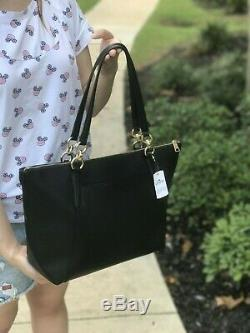 NWT COACH F57526 AVA Crossgrain Leather Tote Handbag Purse Shoulder Bag BLACK
