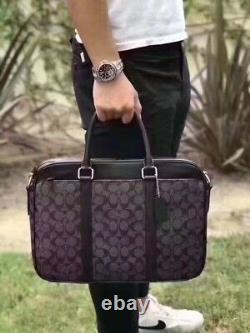 NWT COACH Men's Signature PVC Slim Business Briefcase F54803 CHARCOAL/BLACK $495