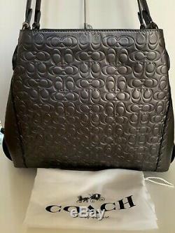 NWT COACH Metallic Graphite Signature C Leather Rivet Edie 31 Bag Purse 40727