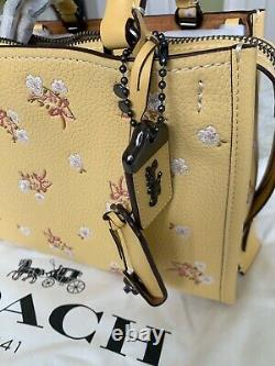NWT Coach 1941 Floral Bow Rogue 25 Tote Handbag in Sunflower yellow 29216 $650