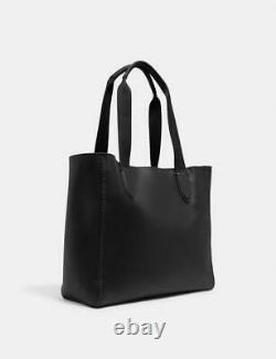 NWT Coach Black Pebble Leather Derby Tote Purse Bag Black/Oxblood F58660