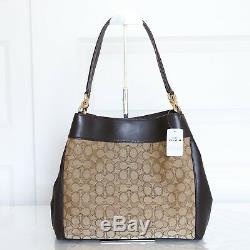 NWT Coach F27579/F57612 Lexy Shoulder Bag in Outline Signature Khaki/Brown