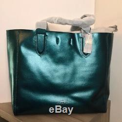 NWT Coach F59388 QBMP2 Metallic Dark Teal Large Derby Tote Leather $350 Retail
