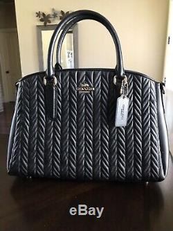 NWT Coach F73062 Sage Carryall With Quilted Leather Handbag in Black $550.00