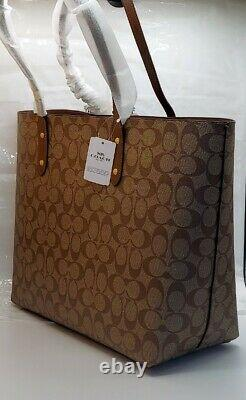 NWT Coach F76636 Town Tote Shoulder Bag in Signature Canvas Khaki Saddle2