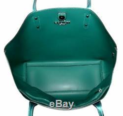NWT Coach F79983 Metallic Leather Town Tote Viridian Green QBPGR $398 Retail