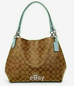 NWT Coach F80298 Signature Hallie Shoulder Bag Khaki / Pale Blue $398 Retail